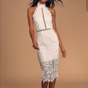 🎉HP🎉NEW Lulus Divine White Lace Midi Dress